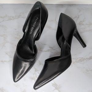 Franco Sarto Leather D'Orsay Pumps Black Heels